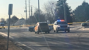 Police investigate after a man was struck by a vehicle that fled the scene on West Drive Sunday March 17, 2019. (Brandon Gonez /CP24)