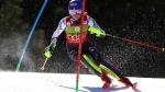 United States' Mikaela Shiffrin speeds down the course during an alpine ski, women's slalom, at the alpine ski, World Cup finals in Soldeu, Andorra, Saturday, March 16, 2019. (AP Photo/Alessandro Trovati)