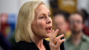 Democratic presidential candidate Sen. Kirsten Gillibrand, D-N.Y., speaks during a campaign meet-and-greet, Friday, March 15, 2019, at To Share Brewing in Manchester, N.H. (AP Photo/Elise Amendola)