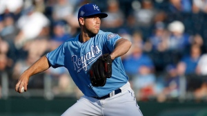 Kansas City Royals relief pitcher Jason Adam makes his major league debut as he throws to the Detroit Tigers in the ninth inning of a baseball game at Kauffman Stadium in Kansas City, Mo., Saturday, May 5, 2018. The Toronto Blue Jays acquired right-hander Adam from the Royals on Sunday for cash considerations. THE CANADIAN PRESS/AP/Colin E. Braley