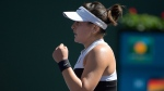 Bianca Andreescu, of Canada, celebrates after winning a point against Angelique Kerber, of Germany, during the women's final at the BNP Paribas Open tennis tournament Sunday, March 17, 2019, in Indian Wells, Calif. (AP Photo/Mark J. Terrill)