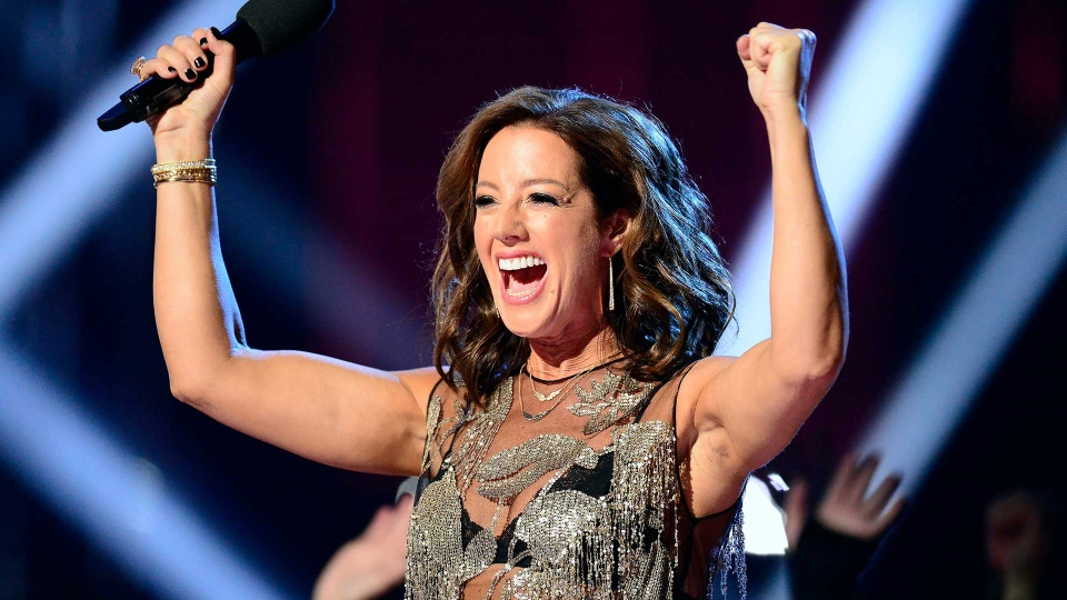 Sarah McLachlan introduces a performance by Canadian Music Hall of Fame inductee Corey Hart at the Juno Awards in London, Ont., Sunday, March 17, 2019. THE CANADIAN PRESS/Frank Gunn