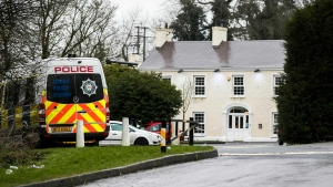 The Greenvale Hotel in Co. Tyrone, in Northern Ireland, Monday March 18, 2019. Police say two 17-year-olds and a 16-year-old have died after a crowd revelers trying to get into an event at the Greenvale Hotel on St. Patrick's Day caused what appears to be crush near a hotel entrance. (Liam McBurney/PA via AP)