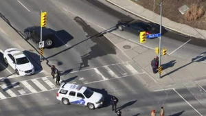 The scene of a collision at Finch Avenue East and Leslie Street is seen on March 18, 2019 from Chopper 24.