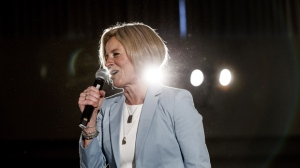 Alberta Premier Rachel Notley speaks to a large crowd during a rally in Edmonton on Sunday, March 17, 2019. THE CANADIAN PRESS/Jason Franson