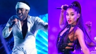 Childish Gambino and Ariana Grande are seen in this composite image. (Charles Sykes/Invision/AP, File)