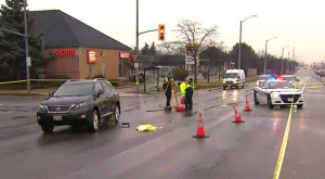 A pedestrian suffered serious injuries after being struck by a vehicle in Mississauga.
