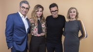 """Eugene Levy, from left, Annie Murphy, Daniel Levy and Catherine O'Hara cast members in the Pop TV series """"Schitt's Creek"""" pose for a portrait during the 2018 Television Critics Association Winter Press Tour in Pasadena, Calif., on January 14, 2018. THE CANADIAN PRESS/AP, Invision - Willy Sanjuan"""