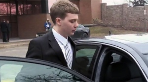 Tyler Neilsen is seen leaving the Newmarket courthouse on March 21, 2019.
