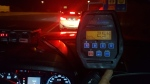 A laser gun displays the reading of 254 km/h after police pulled over a speeding vehicle on Highway 403 in Mississauga on Thursday night. (Sgt. Kerry Schmidt/Twitter)