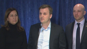 Councillors Ana Bailão (left), Joe Cressy (middle) and Brad Bradford (right) are shown during a news conference at city hall on Friday morning. The councillors are calling for a new increased land transfer tax rate on homes sold for in excess of $3 million as a way to provide more housing allowances to low income residents.