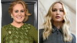 This combination photo shows singer Adele at the 59th annual Grammy Awards in Los Angeles on Feb. 12, 2017, left, and actress Jennifer Lawrence at the Dior ready to wear Fall-Winter 2019-2020 collection in Paris on Feb. 26, 2019. (AP Photo, File)