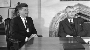 In this May 17, 1961 file photo, U.S. President John Kennedy and Prime Minister John Diefenbaker meet to begin talks on U.S. and Canadian problems in Ottawa, Canada. The prime minister's bureaucrats are hoarding a trove of decades-old records that chronicle Canada's Cold War intelligence history, say security researchers who are pushing to make the files publicly accessible. THE CANADIAN PRESS/AP Photo