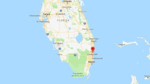 Pompano Beach, Florida is indicated on this map.
