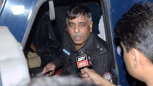 In this Tuesday Jan. 16, 2018, file photo, Pakistani police officer Rao Anwar talks to a reporter in Karachi, Pakistan. (AP Photo/Shakil Adil, File)
