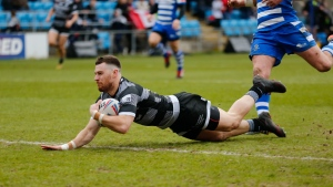 Toronto Wolfpack's Blake Wallace dives to score a try against Halifax RLFC during the Betfred Championship Round 8 match at Mbi Shay Stadium, Halifax, West Yorkshire, Eng., Sunday, March 24, 2019. THE CANADIAN PRESS/HO-Toronto Wolfpack-Stephen Gaunt