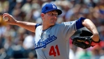 Los Angeles Dodgers starting pitcher Daniel Hudson delivers in the first inning of a baseball game against the Pittsburgh Pirates in Pittsburgh, Thursday, June 7, 2018. (AP Photo/Gene J. Puskar)