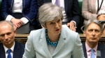 Britain's Prime Minister Theresa May makes a statement on Brexit to lawmakers in the House of Commons, London, Monday March 25, 2019. May is under intense pressure Monday to win support for her Brexit deal to split from Europe.(House of Commons via AP)