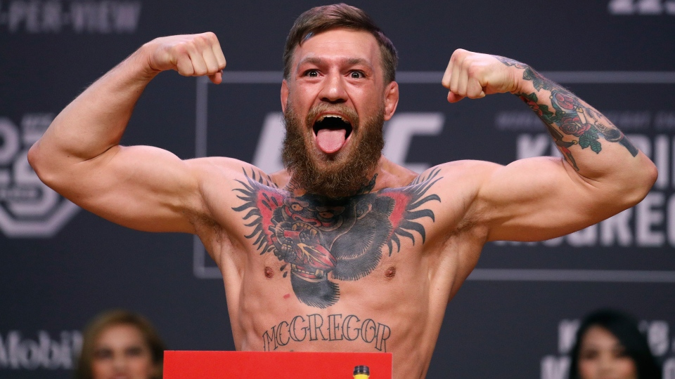 In this Oct. 5, 2018, file photo, Conor McGregor poses during a ceremonial weigh-in for the UFC 229 mixed martial arts fight in Las Vegas. (AP Photo/John Locher, File)