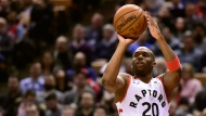 Toronto Raptors guard Jodie Meeks (20) makes the three pointer during second half NBA basketball action against the Boston Celtics, in Toronto on Tuesday, Feb. 26, 2019. THE CANADIAN PRESS/Frank Gunn