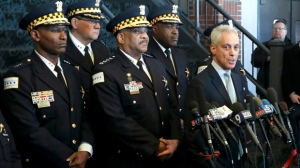 """Chicago Mayor Rahm Emanuel, right, and Chicago Police Superintendent Eddie Johnson, center, appear at a news conference Tuesday, March 26, 2019, after prosecutors abruptly dropped all charges against """"Empire"""" actor Jussie Smollett, abandoning the case barely five weeks after he was accused of lying to police about being the target of a racist, anti-gay attack in downtown Chicago. The mayor and police chief blasted the decision and stood by the investigation that concluded Smollett staged a hoax.  (AP Photo/Teresa Crawford)"""