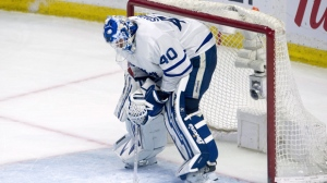 Toronto Maple Leafs goaltender Garret Sparks reacts following the Ottawa Senators fourth goal in NHL action Saturday March 30, 2019 in Ottawa. THE CANADIAN PRESS/Adrian Wyld