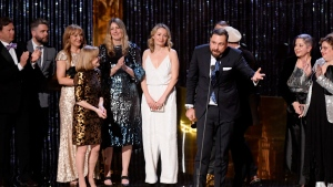 """Producers of """"The Amazing Race Canada"""" accept their award at the Canadian Screen Awards in Toronto on Sunday, March 31, 2019. THE CANADIAN PRESS/Nathan Denette"""