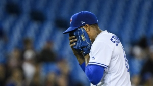Toronto Blue Jays starting pitcher Marcus Stroman reacts after being pulled from the game against the Baltimore Orioles during sixth inning AL baseball action in Toronto on Tuesday, April 2, 2019. THE CANADIAN PRESS/Nathan Denette