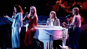 "FILE - In this file photo dated Tuesday Jan. 9, 1979, Abba perform at United Nations General Assembly, in New York, during taping of NBC-TV Special, ""The Music for UNICEF concert.""  (AP Photo/Ron Frehm, FILE)"