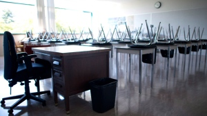 An empty classroom is shown in this file image. (The Canadian Press)