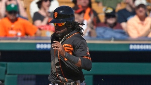 San Francisco Giants' Alen Hanson, right, scores behind Chicago White Sox catcher Alfredo Gonzez in the fifth inning of a spring training baseball game Monday, March 18, 2019, in Glendale, Ariz. (AP Photo/Sue Ogrocki)