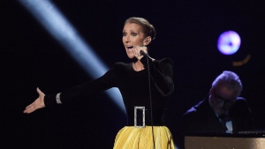 Celine Dion performs at the Shrine Auditorium in Los Angeles on Sunday, Jan. 13, 2019. (Richard Shotwell / Invision / AP)