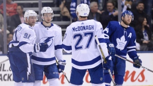 Tampa Bay Lightning centre Steven Stamkos (91) celebrates his shorthanded goal against the Toronto Maple Leafs with teammates during second period NHL hockey action in Toronto on Thursday, April 4, 2019. THE CANADIAN PRESS/Nathan Denette