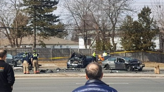 Female dead after three-vehicle collision near Victoria Park and