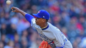 Toronto Blue Jays relief pitcher Elvis Luciano delivers in the third inning of a baseball game against the Cleveland Indians, Saturday, April 6, 2019, in Cleveland. (AP Photo/David Dermer)