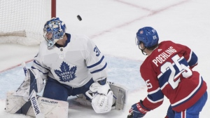Toronto Maple Leafs goaltender Frederik Andersen is scored on by Montreal Canadiens' Ryan Poehling during third period NHL hockey action in Montreal, Saturday, April 6, 2019. THE CANADIAN PRESS/Graham Hughes