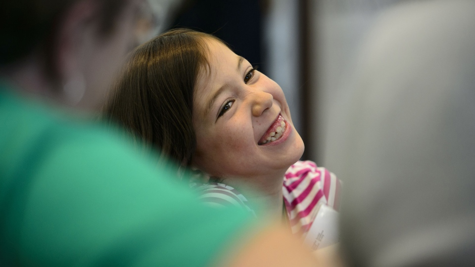 Heart donor recipient Addison McArthur of B.C., smiles during an event for Green Shirt Day and National Organ and Tissue Donation Awareness Week in Ottawa on Wednesday, April 3, 2019. THE CANADIAN PRESS/Sean Kilpatrick