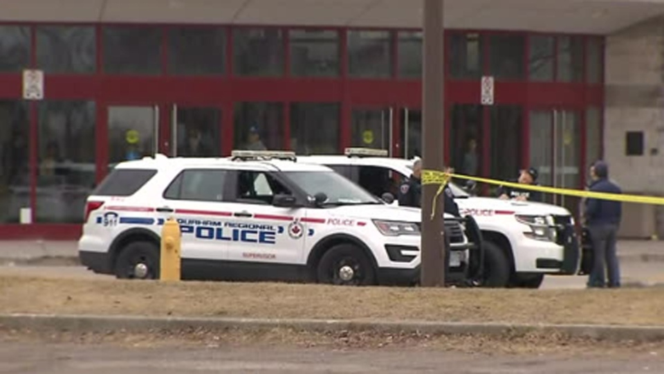 Police investigate a fatal shooting outside the Pickering Recreation Complex Sunday April 7, 2019.