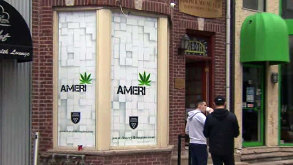The exterior of legal pot shop Ameri in Yorkville is seen.