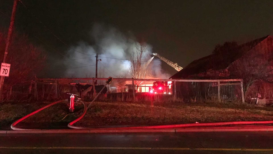 Fire crews tackle a barn fire at McVean Drive and Castlemore Road in Brampton. (Mike Nguyen /CP24)