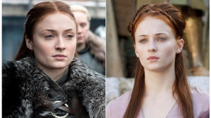 "This combination photo of images released by HBO shows Sophie Turner portraying Sansa Stark in ""Game of Thrones."" The final season of the popular series premieres on April 14. (HBO via AP)"