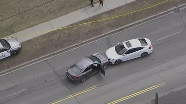 Two vehicles that collided head-on are seen on Jane Street south of Highway 400 on April 9, 2019. (Chopper 24)