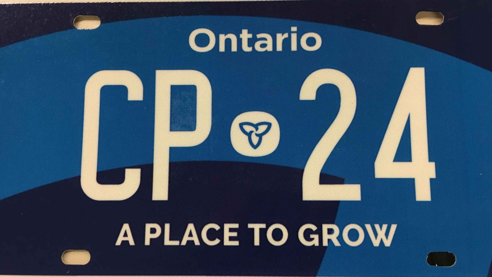 An example of a new Ontario licence plate is pictured in this handout image from the 2019 budget. (Government of Ontario)