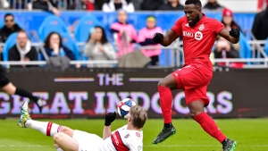 Chicago Fire midfielder Bastian Schweinsteiger (31) slides in front of Toronto FC forward Jozy Altidore (17) during first half MLS soccer action in Toronto, Saturday, April 6, 2019. Some 7 1/2 weeks into the season and Toronto FC is hitting the road for just the third time. THE CANADIAN PRESS/Frank Gunn