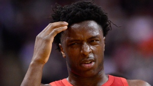 Toronto Raptors forward OG Anunoby (3) is taken off the court after collision with a Chicago Bulls player during second half NBA basketball action in Toronto on Tuesday, March 26, 2019. THE CANADIAN PRESS/Frank Gunn