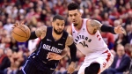 Orlando Magic guard D.J. Augustin (14) drives around Toronto Raptors guard Danny Green (14) during second half NBA basketball playoff action in Toronto, on Saturday, April 13, 2019. THE CANADIAN PRESS/Frank Gunn
