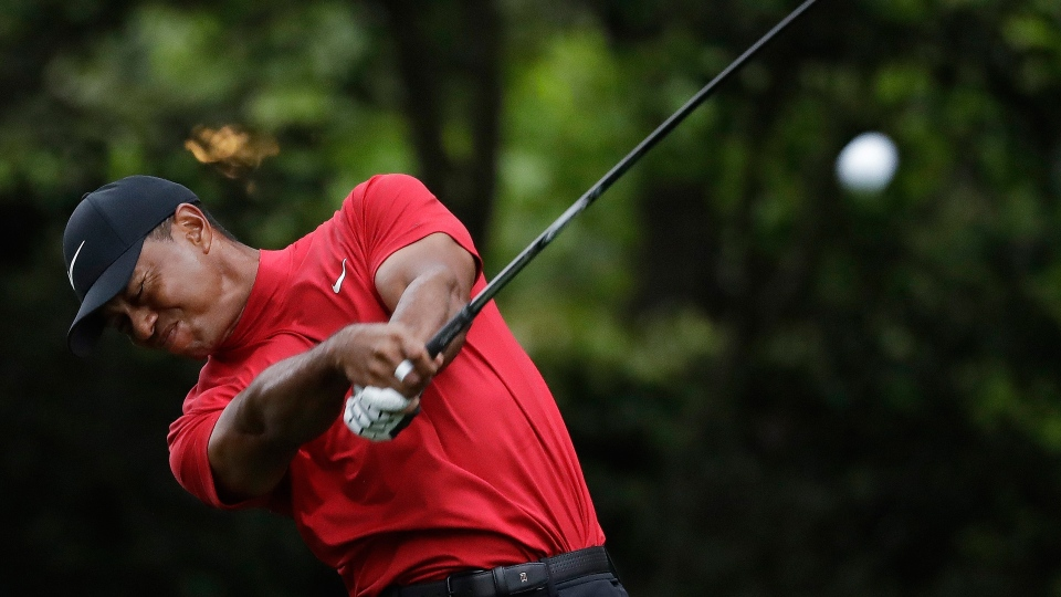 Tiger Woods hits from the second tee during the final round for the Masters golf tournament Sunday, April 14, 2019, in Augusta, Ga. (AP Photo/Marcio Jose Sanchez)