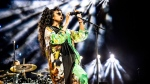 H.E.R. performs at the Coachella Music & Arts Festival at the Empire Polo Club on Sunday, April 14, 2019, in Indio, Calif. (Photo by Amy Harris/Invision/AP)
