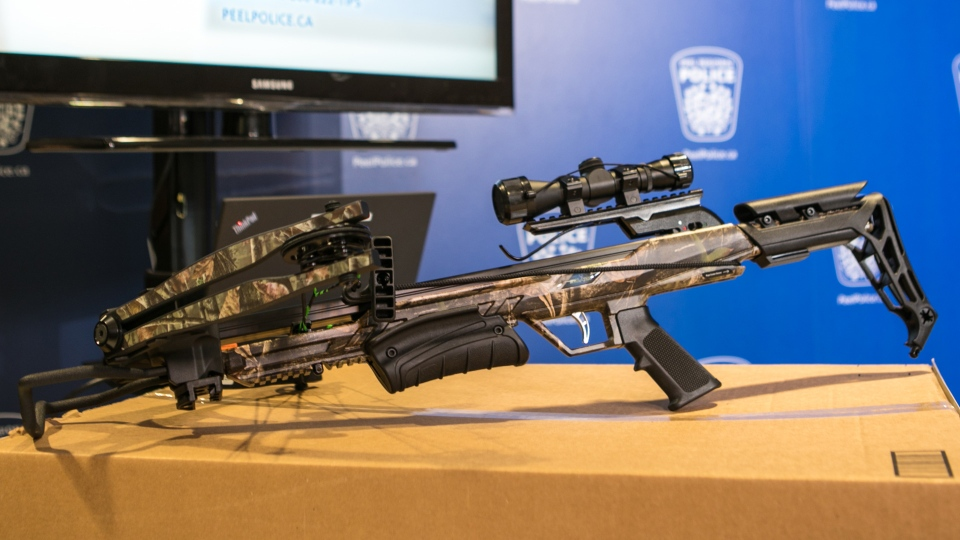 An example of a crossbow similar to that used in a Nov. 7, 2018 crossbow attack on a Mississauga woman is pictured in this handout image. (Handout /Peel Regional Police)