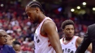 Toronto Raptors forward Kawhi Leonard (2) walks off the court after the Orlando Magic defeated the Raptors in NBA basketball playoff action in Toronto, on Saturday, April 13, 2019. THE CANADIAN PRESS/Frank Gunn